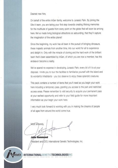 Jurassic Park – John Hammond Letter