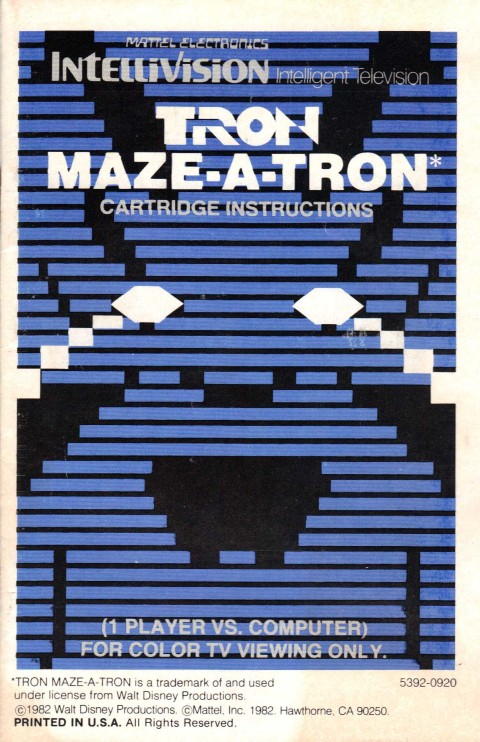 Tron: Maze-A-Tron (Intellivision Manual)