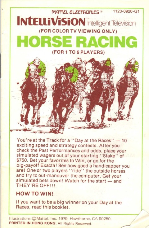 Horse Racing (Intellivision Manual)