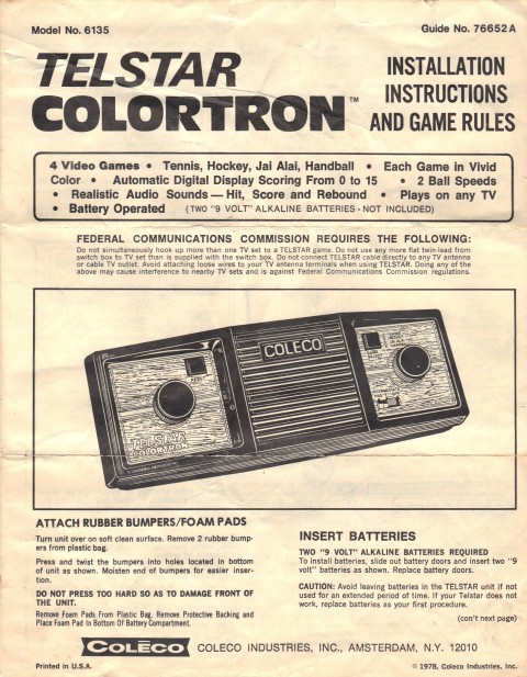 Coleco Telstar Colortron (Manual)