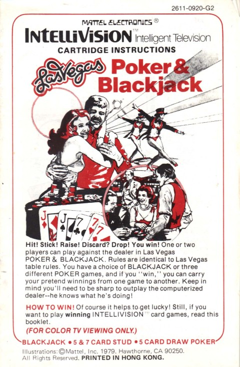 Las Vegas – Poker & Blackjack (Intellivision Manual)