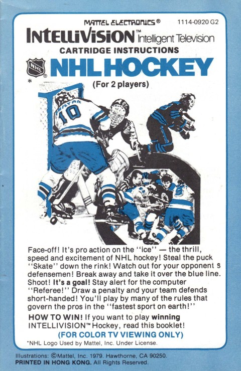 NHL Hockey (Intellivision Manual)