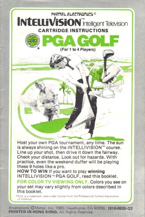 PGA Golf (Intellivision Manual)