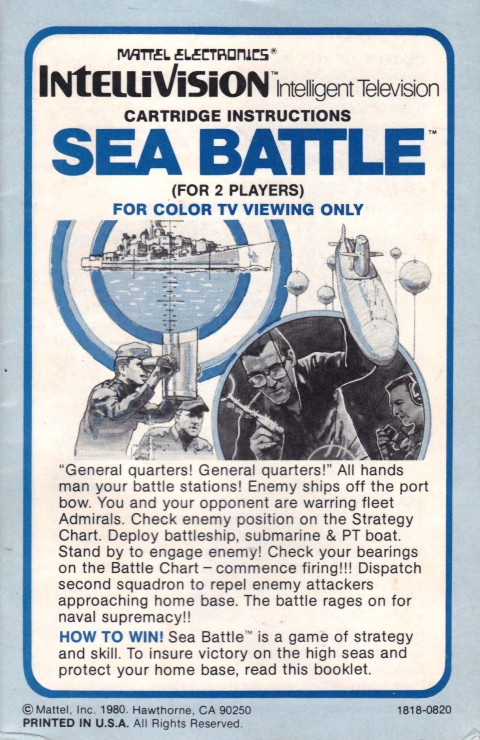 Sea Battle (Intellivision Manual)