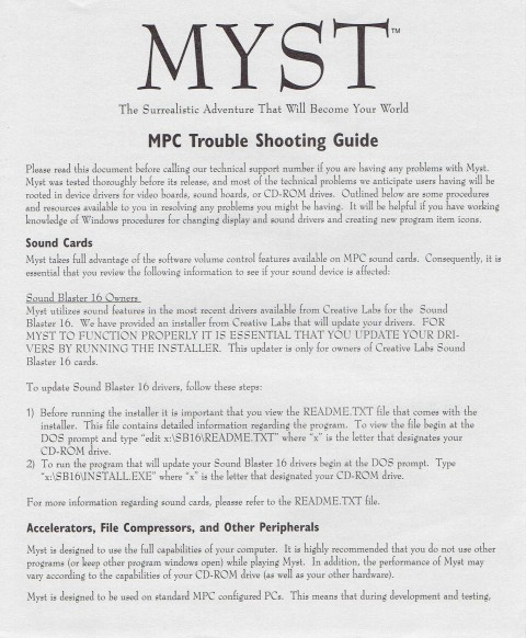 Myst – Troubleshooting Guide