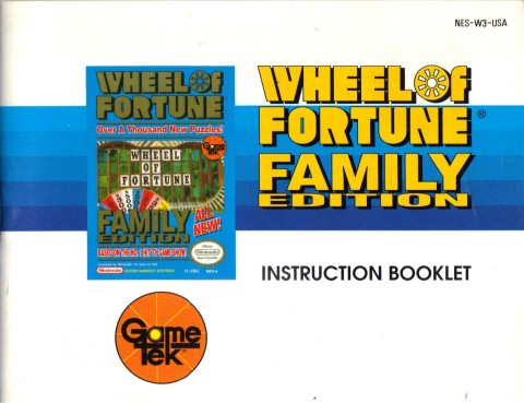 Wheel of Fortune – Family Edition (NES Manual)