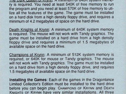 AD&D – Champions of Krynn or Death Knights of Krynn (Data Card)