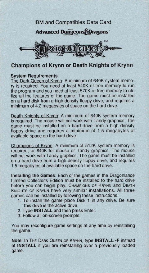 AD&D – Champions of Krynn or Death Knights of Krynn (Data Card)