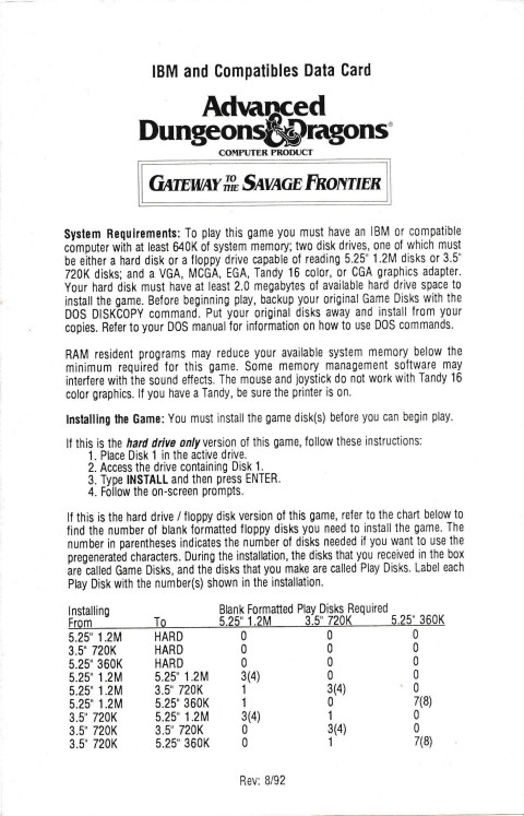 AD&D – Gateway to the Savage Frontier (Data Card)