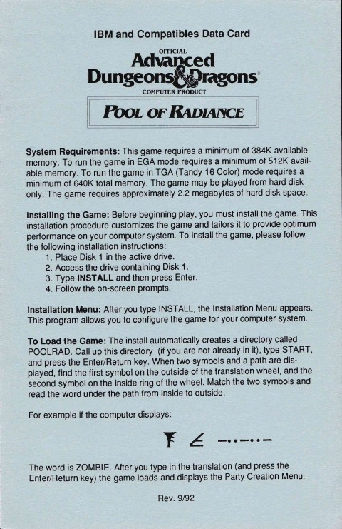 AD&D – Pool of Radiance (Data Card)
