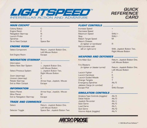 Lightspeed – Quick Reference Card
