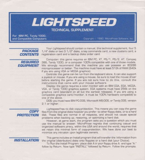 Lightspeed – Technical Supplement