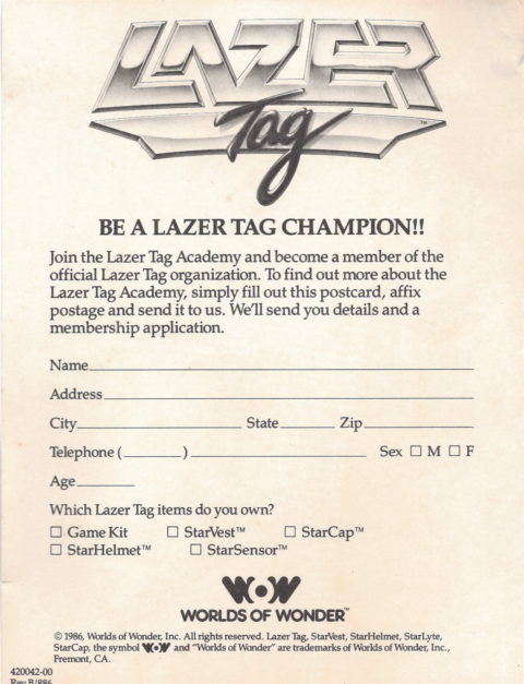 Lazer Tag (Postcard)
