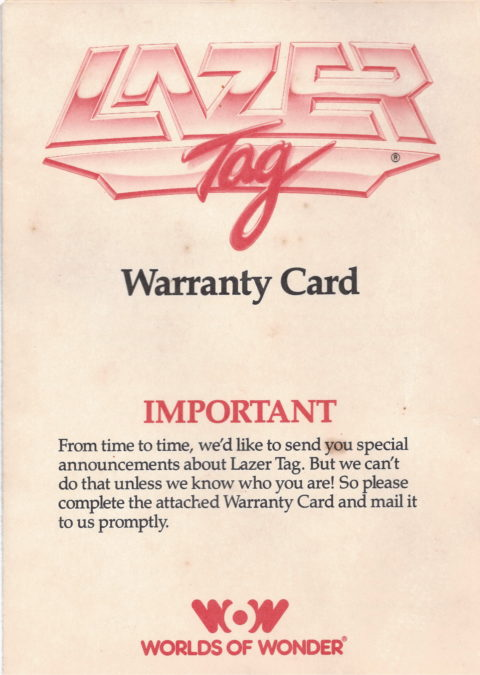Lazer Tag (Warranty Card)