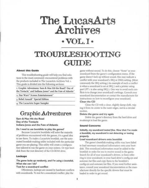 LucasArts Archives – Vol 1 – Troubleshooting
