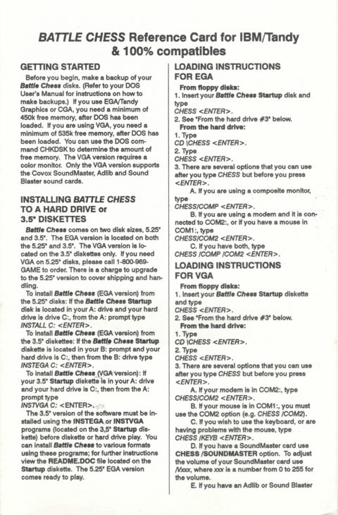 Battle Chess – Reference Card