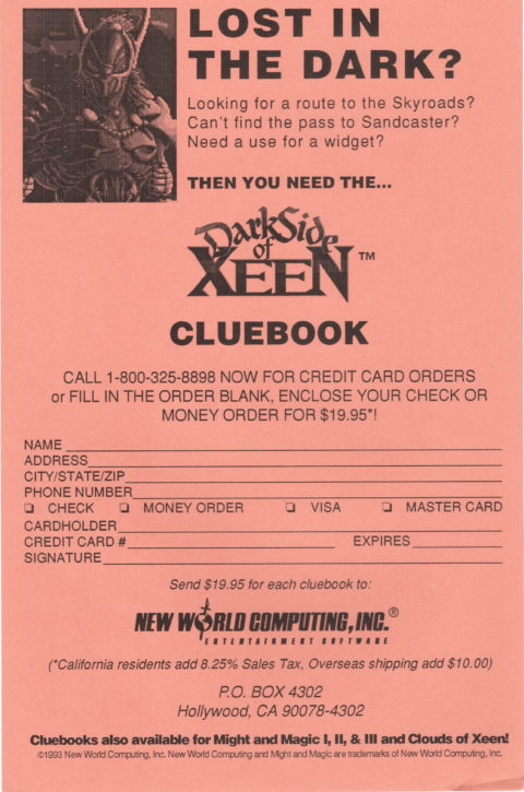 Might and Magic – Darkside of Xeen – Cluebook Order Form