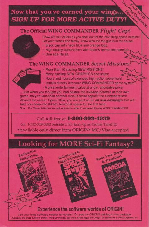 Wing Commander – Box Insert Order Form